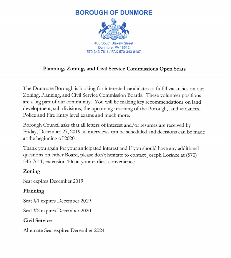 Planning, Zoning and Civil Service Open Seats