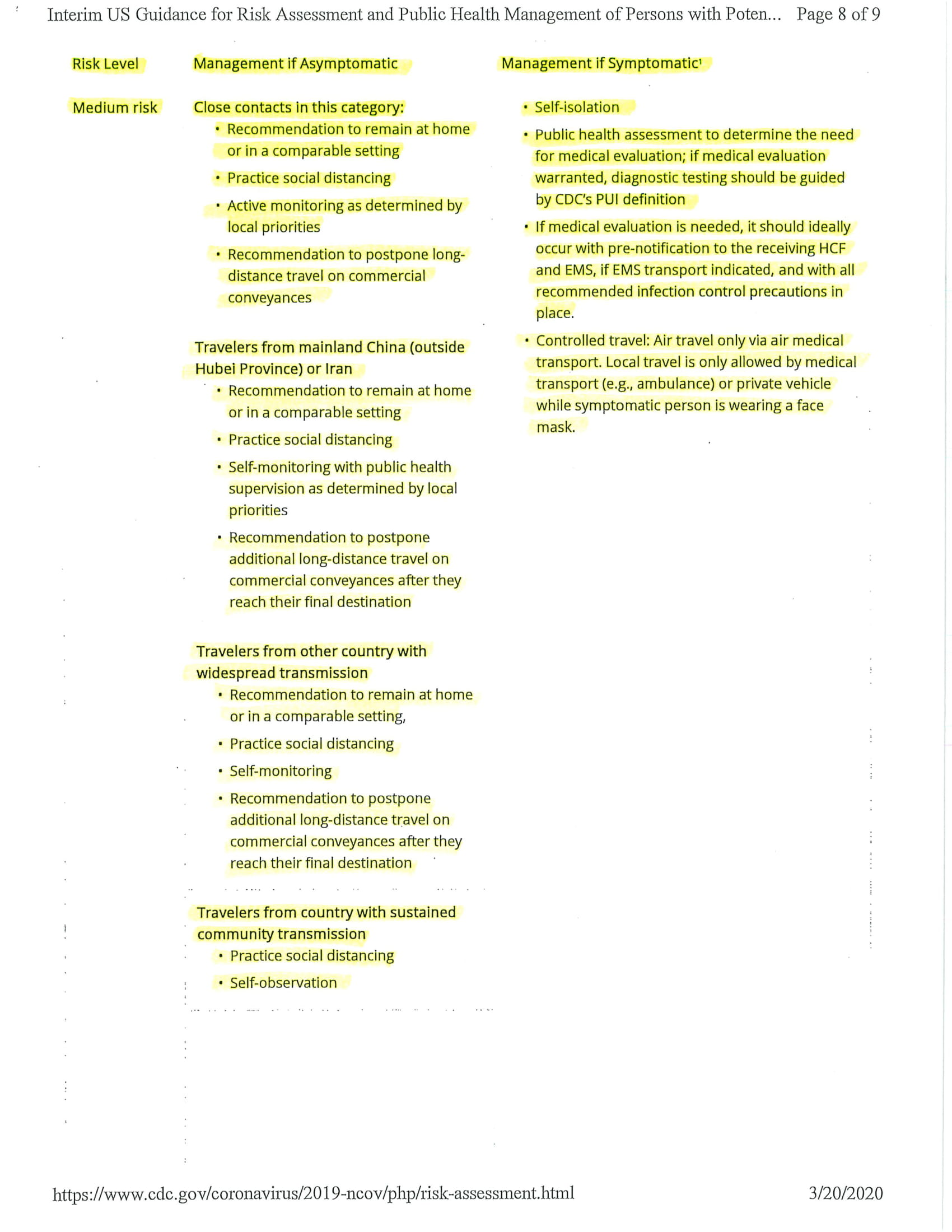 Interim Guidance for Risk Assessment and Public Health Management